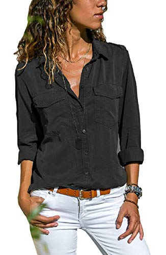 UMIPUBO Bluas de Mujer Camisa Algodón Blusa Mujer Elegante Manga Larga Camisa Suelta Mujer Casual Invierno Primavera Shirts (L, Negro)