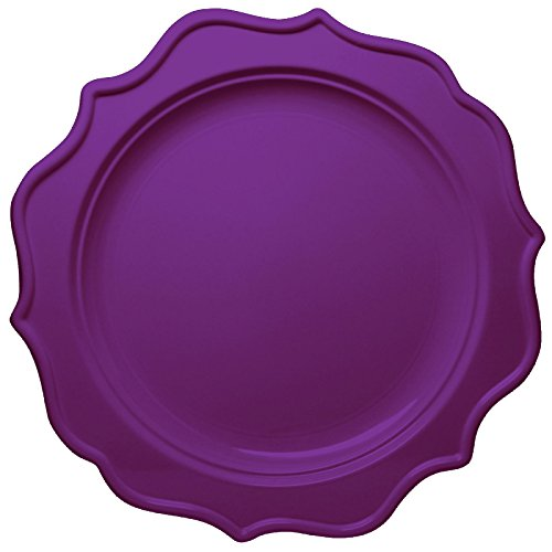 Kunststoff-platten Lila (Decorline -Stabile Lila Kunststoff Einwegteller Essteller 24cm - Festive Collection - 12 Stück)