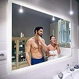 Badspiegel 80x60cm mit LED Beleuchtung - Wählen Sie Zubehör - Individuell Nach Maß - Beleuchtet Wandspiegel Lichtspiegel Badezimmerspiegel - LED Farbe zu Wählen Kaltweiß/Warmweiß L01