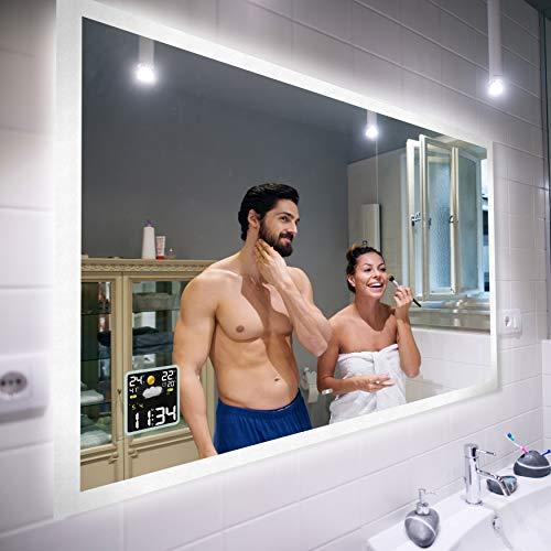 FORAM Moderne Miroir avec LED Illumination Salle de Bain avec Accessoires - sur Mesure - LED Lumineux Miroir avec Éclairage intégré L01