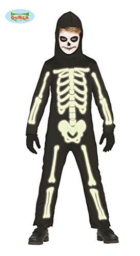 Im Dunkeln leuchtendes Skelett für Kinder Gr. 98 - 146, - Kinder Skelett Kostüme