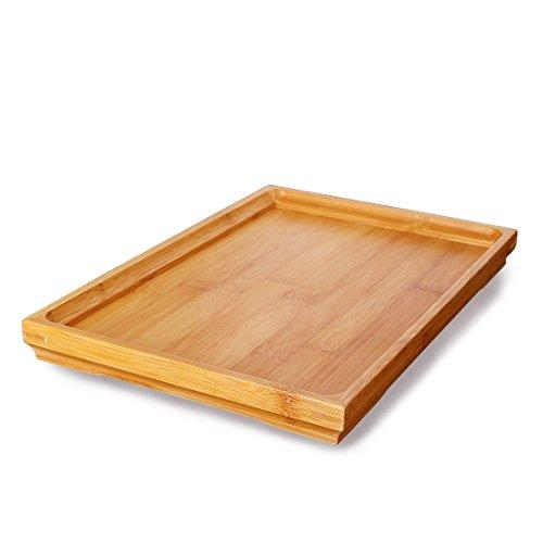 ambus Gongfu Tee Serviertablett Tischplatte - Servieren Sie Gerichte oder Kaffee oder verwenden Sie es als Party-Platte, ideal für das Servieren von Tee, 33 x 22 x 3cm (Bambus-tischplatte)