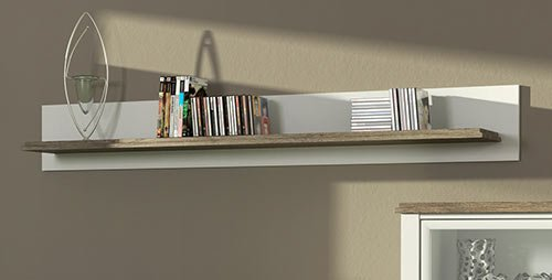 Anbauwand in weiß mit Applikation in San Remo-Eiche-NB, bestehend aus: Vitrine, TV-Bank, Kommode und Wandboard, Gesamtmaße: B/H/T ca. 280/193/36-43 cm - 4