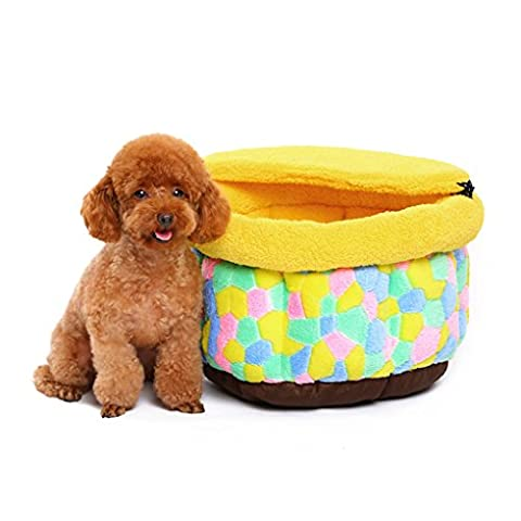 Meiying Soft washable warm soft Pet Beds Small Dog Cat Yellow Color Grid Warming Soft Beds(M)