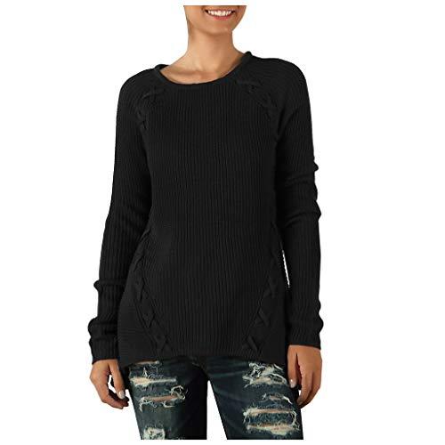One-shoulder Knit Top (Sweater Women's Stilvoll Knit Baggy Rundkragen Weich Bunt Einfach Tops(Schwarz,S))