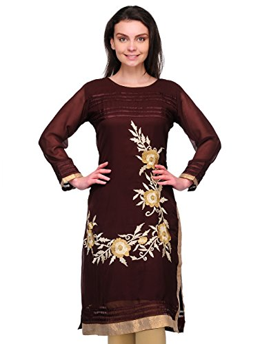 Cenizas Women Georgette Straight Kurta (Kurtis/6019/Brn/M _Brown _M)