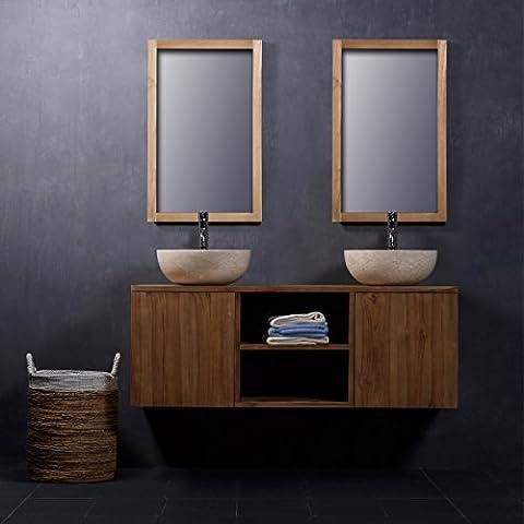 Meuble de Salle de bain en bois de Teck 135 cm