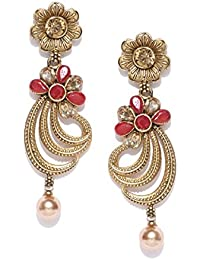 PANASH Gold-toned & Red Stone-studded Drop Earrings