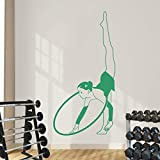Geiqianjiumai Femme Gym Cerceau Gymnaste Sticker Vinyle Wall Sticker Chambre Décor Art Mural Amovible Fitness Peinture Murale Vert 44x81cm