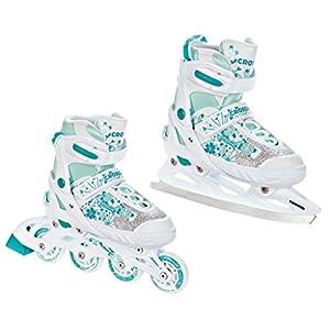 Croxer 2in1 Schlittschuhe Inline Skates Inliner Aviana White/Mint verstellbar