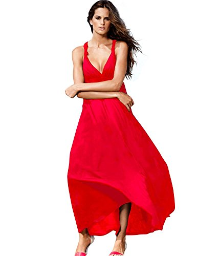 Drasawee - Robe - Trapèze - Femme Taille Unique Rouge
