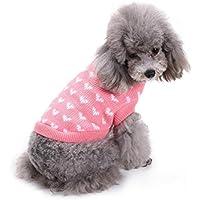mascotas perros ropa de invierno accesorios Sannysis mascotas ropa navidad gato perro pequeños cachorro suéter punto ropa chaleco chaqueta vestir traje de chihuahua barato Impresión de corazón (S, Rosa)