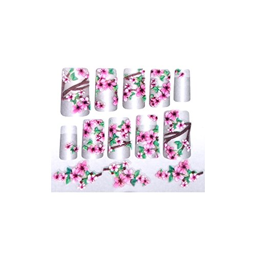 GLAM UP - Planche de Stickers Nail Art - Thème : Fleurs de Cerisier