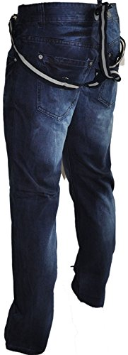 jeans bleu à bretelles amovibles pz161 Bleu