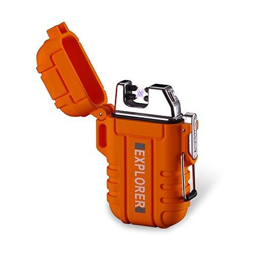 Elektronisches Aufladbar Feuerzeug Dual Arc Lighter USB Feuerzeug Plasma Wiederaufladbar Flammenlos Winddicht Wasserdicht Mini tragbar Gut für Zigarren Zigaretten Kerze Pfeife Sport Outdoor Orange