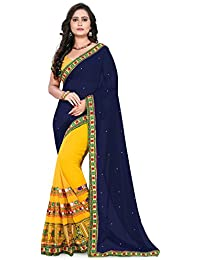 Riva Enterprise Women's Designer Half & Half Georgette Embroidred Work Navy Blue And Yellow Saree(riva_38)