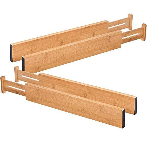 4 Stück Bambus Küche Schublade Teiler Schubladen-Ewendy Erweiterbare Schubladen-Teiler Holz Schreibtisch Schublade Organisatoren, Fach Organizer für Küche, Baby Schublade, Badezimmer (Holz-küche-schublade Teiler)