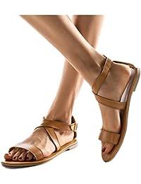 48f309a02 Mujer Romanas Sandalias Casual De Playa Vacasiones Zapatos Con Punta  Abierta Elegante Correa De Tobillo Hebillas