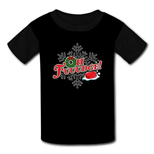 Kmehsv Schwarze Jugend Raglan T-Shirts, Oh Fudge Merry Christmas Short Sleeve Sports Sweat Tee for Teen Kids Boys Girls -