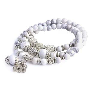 Merdia Bijoux Thaïlande bouddha, Elephant Charm arrondie perlée Bracelet extensible