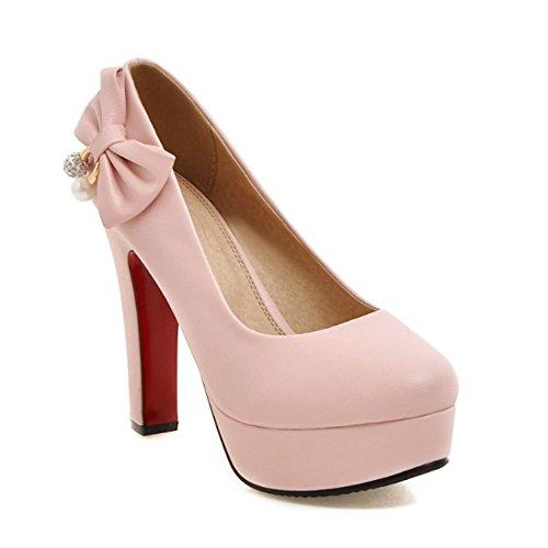 Chaussure Femmes Escarpins Femmes A Brides Bouts Arrondi Talon Aiguille Plateforme Epais 23613Rose