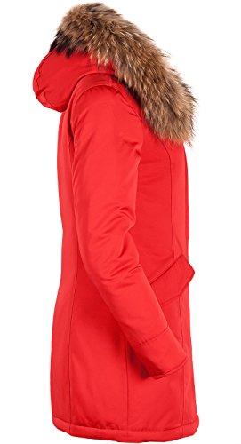 6M166M Damen Daunenmantel Arctic Parka TARORE mit Echtfellkapuze (34, rot) - 3
