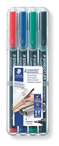 Staedtler Lumocolor 318 WP4 Folienstift, permanent, wasserfest, wischfest, sekundenschnell trocken, F-Spitze Linienbreite ca. 0.6 mm, hohe Qualität, Set mit 4 Farben