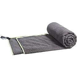LightDRY, microfibra, panno in spugna, asciugamano da viaggio, per sport, assorbente, leggero e antibatterico, 120x 60cm, nero-grigio