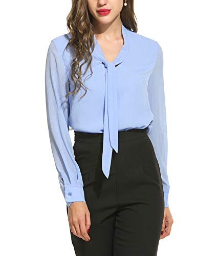 Beyove Damen V-Ausschnitt Schluppenbluse Chiffonbluse Langarmshirt Basic Bluse Einfarbig hellblau