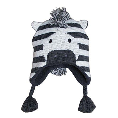 Gwood Baby Kinder Wintermützen Süßes Cartoon Design Mütze Beanie Pilot Flieger Häkeln Earflap Kappen liebenswert Schnee Warme Hut Viele Modelle Wählbar Gr.44-52cm (M, Zebra) (Beanie Babies Lamm)