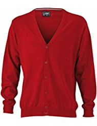 JAMES & NICHOLSON - cardigan - pull gilet fermeture boutons - coton - col V - JN661 - Homme