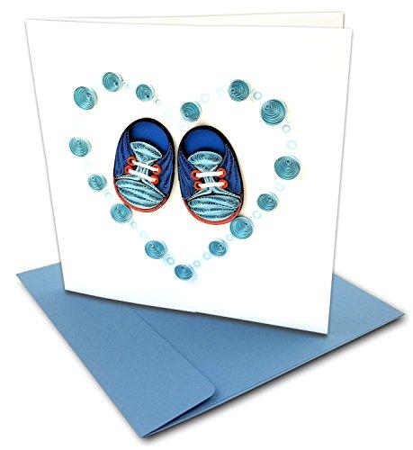 Baby Quilling-Karten, 15,2 x 15,2 cm, mit Umschlag, 1 Stück und 2 Stück erhältlich Its A Boy! Blue_Baby_Bootie 1PK blue, cream - Handgemachte Booties