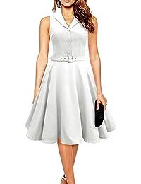 iLover Audrey Hepburn vintage robe de soirée cocktail bal style années 50 Rockabilly Swing (XL, V402DE-White)
