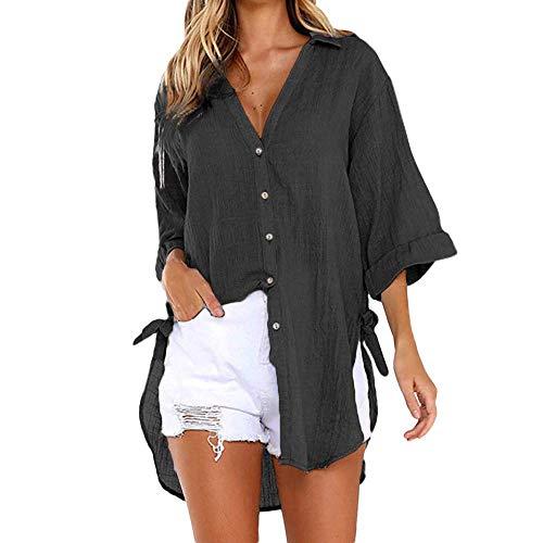 Bobopai Women's Solid Loose Short Sleeve V Neck T-Shirt Top Side Split High Low Hem Old Navy Floral Romper