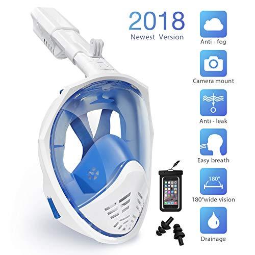Tauchmaske Schnorchelmaske, Panorama Vollmaske Vollgesichtsmaske Anti-Fog Anti-Leck-Technologie mit Schnorchel, 180°Sichtfeld, GoPro, Easybreath für Kinder und Erwachsene(S/M) -