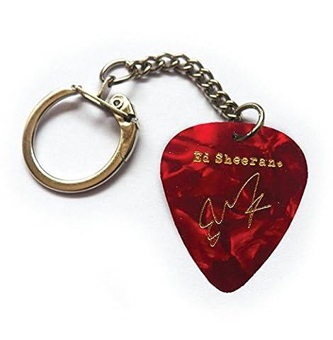 ED SHEERAN printed signature LEGEND SERIES plectrum guitar pick KEYCHAIN KEYRING(RED PEARL)