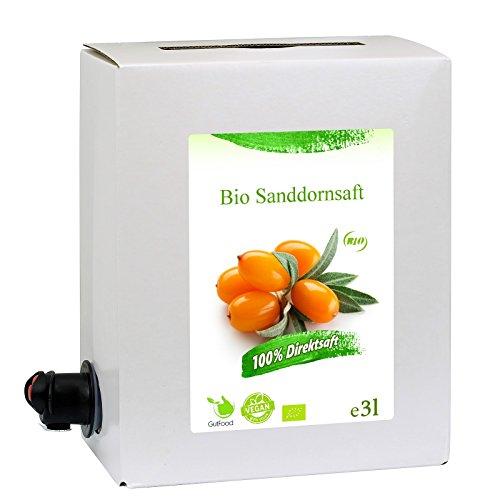 GutFood - 3 Liter Bio Sanddornsaft - Bio Sanddorn Saft in praktischer Bag in Box Packung ( 1 x 3 l Saftbox ) - Muttersaft aus Erstpressung in absoluter Spitzenqualität aus ökologischem Landbau