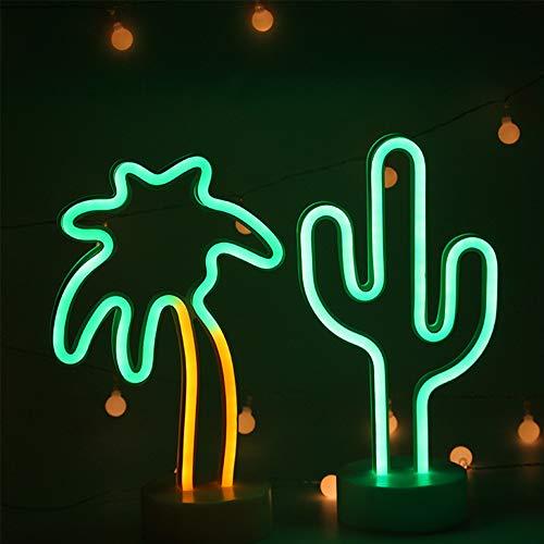 ENUOLI Neon Light Combinaison verte Cactus et Palmier Néon signes USB/batterie Operated Bar lampe néon signe pour Bar Neon Night Light pour la maison de mariage Fête de Noël Décoration