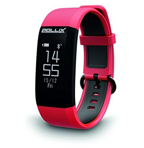 Pollix PRO: Fitness Activity Tracker - Pulsuhr mit Herzfrequez – IPX7 Fitness Armband Uhr mit Schrittzähler & Musikstuerung & Push-Benachrichtigung - Smart Watch für iOS & Android (PRO-M Red)