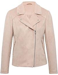 M&Co Ladies Pastel Long Sleeve Press Stud Lapels Zip Fastening Faux Suede Biker Jacket