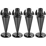 Monacor - Soportes ultrafinos para altavoces (4 unidades, chapados en cromo), color negro
