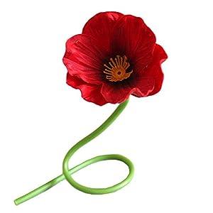 Grandlin – 10 flores artificiales rojas de amapola, flores artificiales para ramo de boda, arreglos para el hogar, sala…