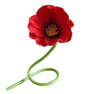 GRANDLIN 10 Piezas de Flores Artificiales de Amapola roja, Ramo de Flores Artificiales para Boda, arreglos para el hogar, Sala de Estar, Centro de Mesa de Comedor, centros de Mesa, PU, 12.5 Pulgadas