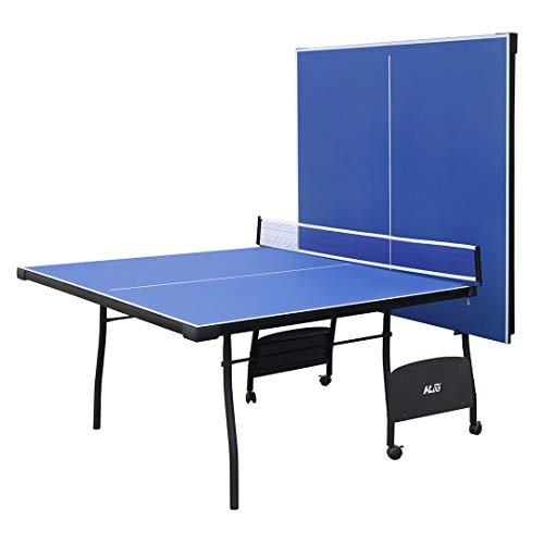 YP Mesa de Ping Pong Plegable Ping Pong Mesa para Interior y Exterior con 4 Tableros Tamaño 274 * 152 * 76CM Hecho de MDF+Metal Color Azul