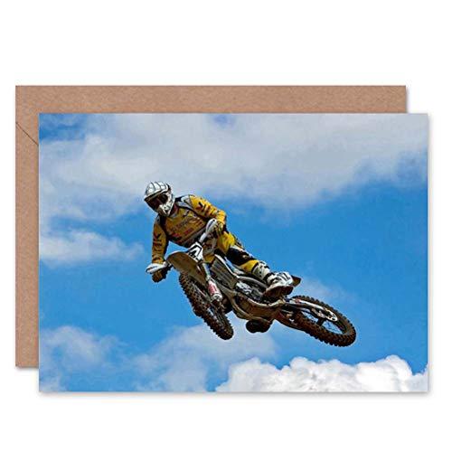 Wee Blue Coo LTD Motocross Dirt Bike Jump Sport Photo Birthday BLANK Greetings Card
