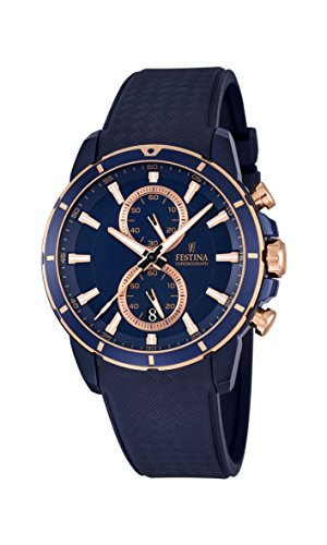 Festina Men's Quartz Watch with Blue Dial Chronograph Display and Black Rubber Strap F16851/1