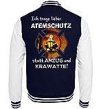 Feuerwehr Shirt Hoodie - Ich trage Lieber Atemschutz statt Anzug und Krawatte! 112 - College Sweatjacke -M-Dunkelblau-Weiss