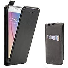 Funda Galaxy S6, Supad Funda para Samsung Galaxy S6 Flip Case para móvil en cuero sintético (Negro)