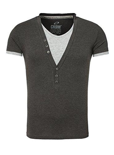 Carisma 2in1 T-Shirt Deep V-Neck Schwarz anthrazit grau