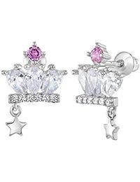 9d5a88534b9b In Season Jewelry - 925 Plata de Ley Circonita Clara y Rosa Corona de  Princesa Aretes